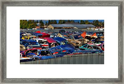 Traffic Jam - Ferrell's Auto Wrecking Framed Print