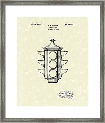 Traffic Light 1924 Patent Art Framed Print by Prior Art Design