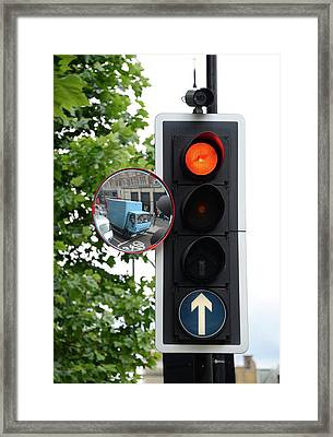 Traffic Lights And Mirror Framed Print by Cordelia Molloy