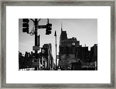 Traffic Lights And Red Hand Stop Signal And Use Crosswalk Signs Intersection Manhattan New York City Framed Print by Joe Fox