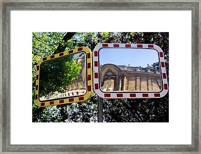 Traffic Mirrors In Luxembourg Framed Print by Mark Williamson