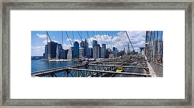 Traffic On A Bridge, Brooklyn Bridge Framed Print by Panoramic Images