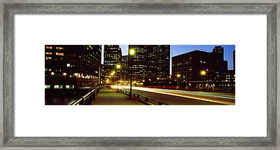 Traffic On A Bridge In A City, Northern Framed Print by Panoramic Images