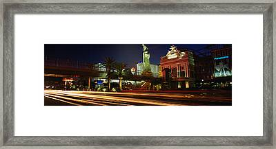 Traffic On A Road, Las Vegas, Nevada Framed Print
