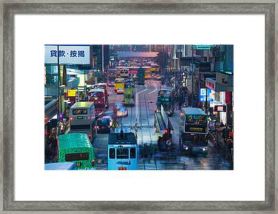 Traffic On A Street At Night, Des Voeux Framed Print by Panoramic Images