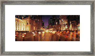 Traffic On The Road At Dusk, Michigan Framed Print