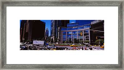 Traffic On The Road In Front Framed Print