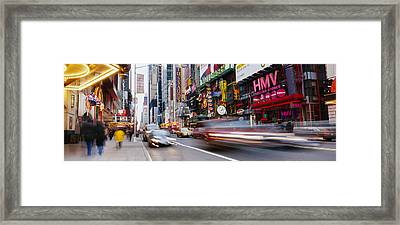 Traffic On The Street, 42nd Street Framed Print by Panoramic Images