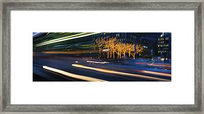 Traffic On The Street At Night, Sixth Framed Print by Panoramic Images