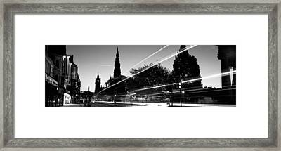 Traffic On The Street, Princes Street Framed Print by Panoramic Images