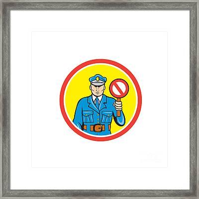 Traffic Policeman Stop Hand Signal Cartoon Framed Print