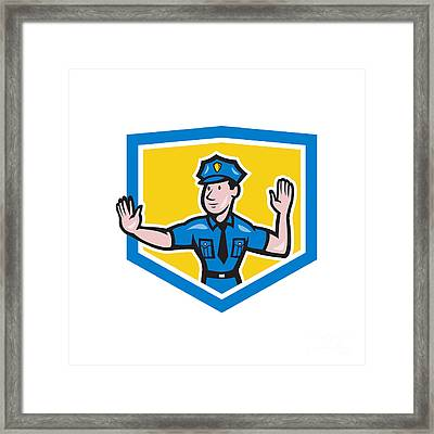 Traffic Policeman Stop Hand Signal Shield Cartoon Framed Print by Aloysius Patrimonio