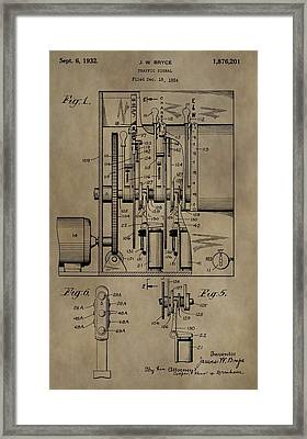 Traffic Signal Patent Framed Print by Dan Sproul