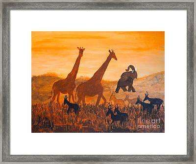 Traffick On Serengeti Framed Print