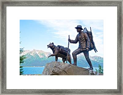 Trail Blazers Sculpture For 2012 Iditarod Beginning At Mile 0 In Seward-ak Framed Print