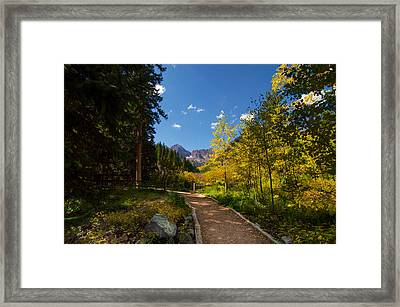 Trail Into Maroon Bells Framed Print by Michael J Bauer