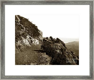 Framed Print featuring the photograph Trail On Mt. Tamalpais Marin Co California Circa 1902  by California Views Mr Pat Hathaway Archives