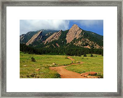 Trail To The Flatirons Framed Print by Daniel Woodrum
