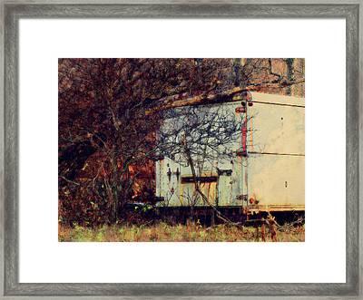 Trailer In The Woods Framed Print