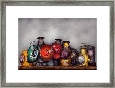 Train - A Collection Of Rail Road Lanterns  Framed Print by Mike Savad