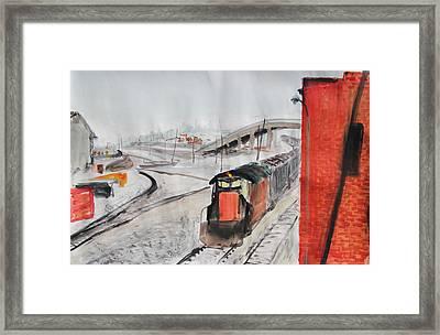 Train And Brick Wall With San Francisco Skyline Framed Print by Asha Carolyn Young