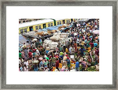 Train And Flower Market, Kolkata, India Framed Print by Peter Adams