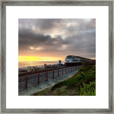 Train And Sunset In San Clemente Framed Print
