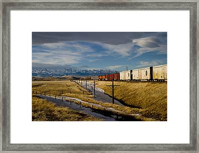 Train And The Crazies By Big Timber Montana Framed Print
