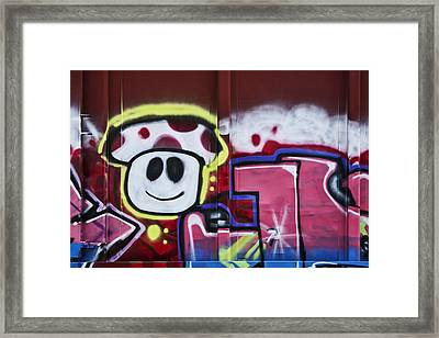 Train Art Cartoon Face Framed Print by Carol Leigh
