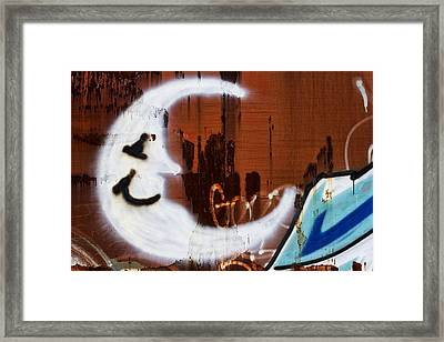 Train Art Man In The Moon Framed Print by Carol Leigh