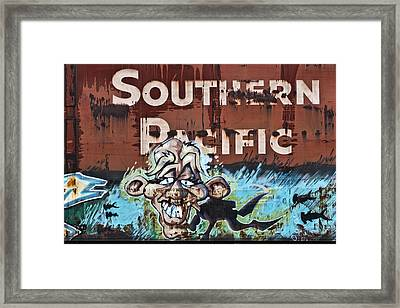 Train Art Swimming With Sharks Framed Print by Carol Leigh