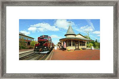 Train At Railway Station, New Hope Framed Print