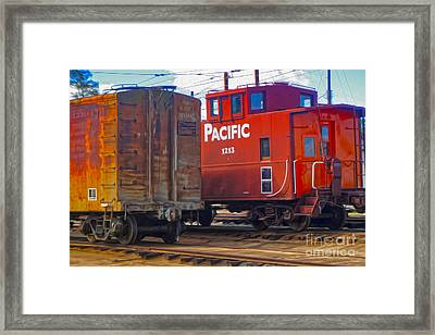 Train Car And Caboose Framed Print