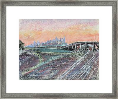 Train Coming At Sunset In West Oakland Framed Print by Asha Carolyn Young