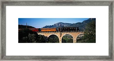 Train Crossing A Bridge, Sierra De Framed Print