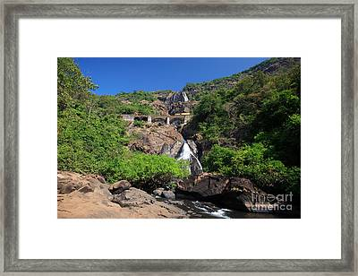 Train Crossing Dudhsagar Falls Framed Print