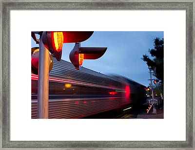 Train Crossing Road Framed Print