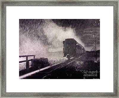 Train Departing Framed Print by Lyric Lucas