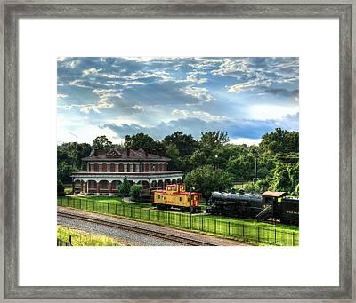 Train Depot Sun Breaking Through Framed Print