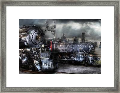 Train - Engine - 1218 - Waiting For Departure Framed Print by Mike Savad