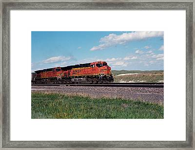 Train Engines On The Prairie Framed Print