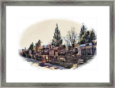 Train Graveyard Framed Print by Kelly Reber