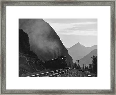 Train In Canadian Rockies Framed Print by Underwood Archives