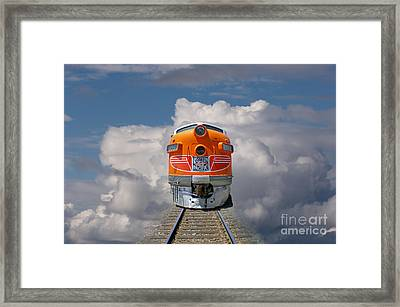 Train In Clouds Framed Print by Ron Sanford