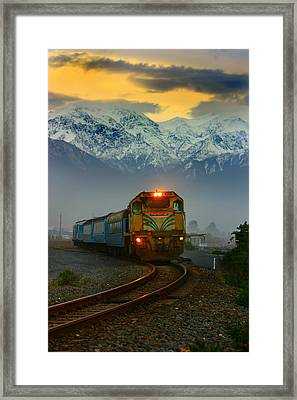 Train In New Zealand Framed Print by Amanda Stadther