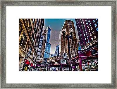Train In The Chicago Loop Framed Print by Linda Matlow