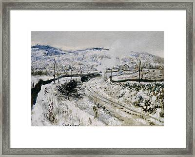 Train In The Snow At Argenteuil Framed Print