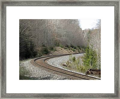 Train It Coming Around The Bend Framed Print by Brenda Brown