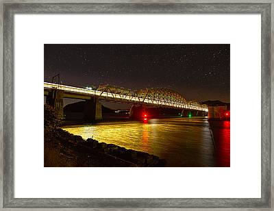 Train Lights In The Night Framed Print