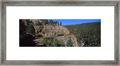 Train Moving On A Railroad Track Framed Print